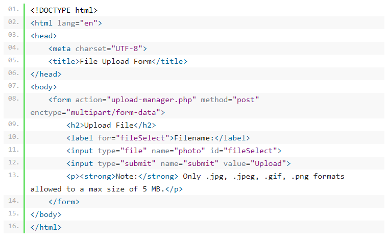 كود رفع الملفات html